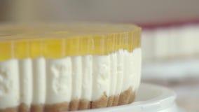 茶的点心与透明釉和切片桃子 与打好的奶油的可口桃子蛋糕 果子特写镜头  股票录像