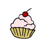 茶的甜点心 与被鞭打的奶油和樱桃的沙子篮子 免版税库存图片