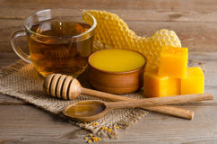 从茶的静物画,蜂蜜 免版税库存照片