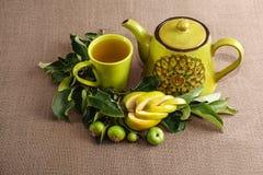 茶罐、茶,分支用未成熟的绿色苹果和一个卷曲切口苹果 库存图片