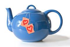 茶罐和爱恋的茶袋 免版税库存图片