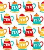 茶罐逗人喜爱的简单的无缝的传染媒介样式 免版税图库摄影