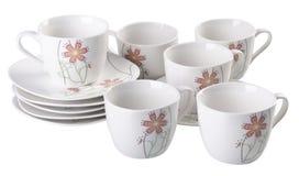 茶罐集合,瓷茶罐和杯子在白色背景 库存图片