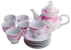 茶罐集合,瓷茶罐和杯子在背景 库存图片