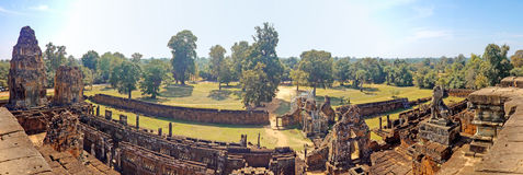 茶胶寺寺庙柬埔寨全景  免版税库存照片