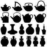 茶茶壶酒瓶东方设计 库存例证