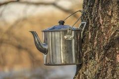茶野营的水壶 免版税库存图片