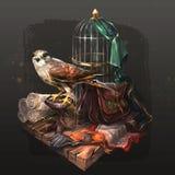 茶隼在他的笼子附近坐 向量例证