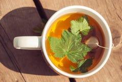 茶顶视图与无核小葡萄干叶子的在白色杯子 库存照片