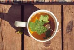 茶顶视图与无核小葡萄干叶子的在白色杯子 Horizintal图象 免版税库存图片