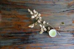茶顶视图在杯子的有干燥分支和叶子的,在木桌上的浅褐色的颜色 图库摄影
