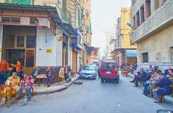 茶馆在Tork的,亚历山大,埃及Souq 免版税库存图片