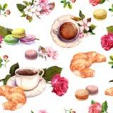 茶,咖啡样式-花,新月形面包,茶杯,蛋白杏仁饼干结块 水彩 无缝 库存照片