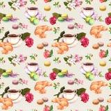 茶,咖啡样式-花,新月形面包,茶杯,蛋白杏仁饼干结块 水彩 无缝 免版税库存照片