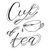 茶,咖啡 在白色背景,设计元素的手拉的剪影例证 背景设计菜单蔬菜 字法 免版税库存照片