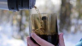 茶从热水瓶倾吐了入一个杯子在一个冷淡的晴天 影视素材