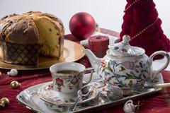 茶e意大利节日糕点 免版税库存照片