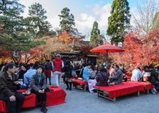 茶Eikando的秋天庭院或Zenrinji寺庙在京都,日本 库存照片