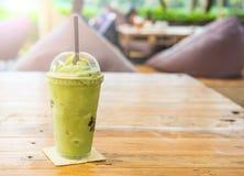 绿茶frappe和混和 免版税库存照片