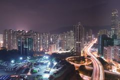 荃湾高速公路hk看法  库存照片