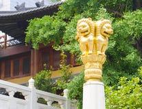 荆山寺庙金黄狮子 库存照片