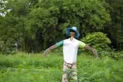 稻草人商品太阳镜和T恤杉帽子和裤子 库存图片