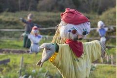稻草人在一个菜园里 免版税库存照片