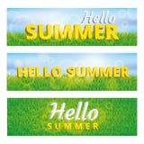 绿草你好夏天横幅 免版税库存照片