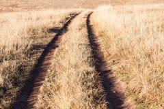 草原轮子跟踪冬天地形 库存图片