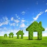 绿草房子标志 免版税库存图片