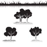 绿草和灌木和树 库存例证