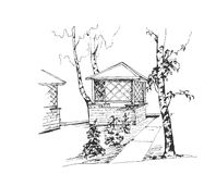 草图 与桦树和一个木房子的森林风景 向量 库存例证
