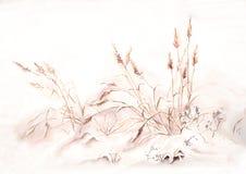 草在水彩之下的绘画雪 库存例证
