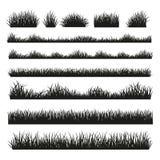 草在背景设置的剪影边界 免版税库存照片