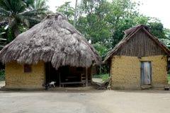 草在非洲村庄顶房顶了泥小屋 免版税库存图片