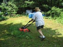 草坪割的妇女 库存照片