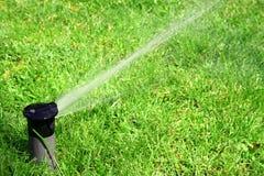 草坪喷水隆头工作 库存图片