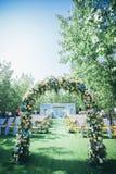 草坪婚礼的角落 库存照片