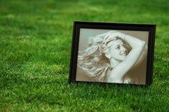 草坪照片妇女 图库摄影