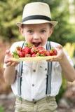 草帽的一个男孩吃成熟芬芳草莓 免版税图库摄影