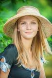 草帽的女孩 库存照片