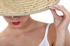 草帽的妇女 库存图片