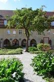 草本和菜的规则式园林与在形式的苹果树 免版税库存照片