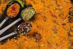 草本和香料选择-烹调,健康吃 免版税库存图片