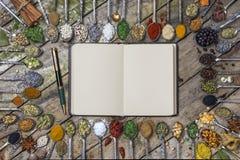 草本和香料-与空间文本的 图库摄影