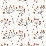 草本土气纹理 与花开花的植物的自然艺术在淡色 典雅的叶子庭院例证 ?? 库存例证