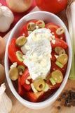 草本沙拉蕃茄酸奶 库存图片