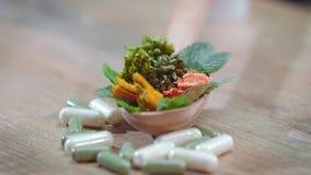 草本疗法概念 医疗草本和药片 被开张的胶囊落的草药搽粉一些 股票录像