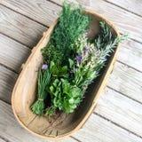 草本的对角构成在木篮子的在土气甲板ba 免版税库存照片