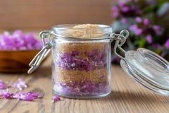 草本糖浆的准备从紫色死荨麻的 库存图片